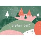 dfx304 | Designfräulein | Frohes Fest Landschaft - Postkarte