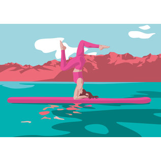 ha031 | happiness | SUP headstand - postcard A6