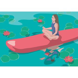 ha032   happiness   SUP Lotussitz - Postkarte A6