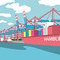 bv069 | bon voyage | Containerhafen, Hamburg - Postkarte A6