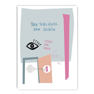 fzpa054| Pastellica | Der Schlüssel zum Glück - Postkarte A6
