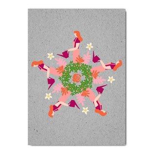 fzgc059 | Gray-Code | Garden Kaleidoscope - postcard  A6