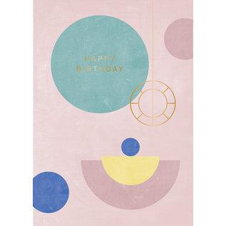 df401 | Designfräulein | Happy Birthday Goldfolie - Klappkarte C6