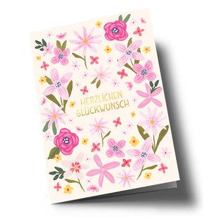 ar321 | Anke Rega | Glückwunsch Flowers - double card C6