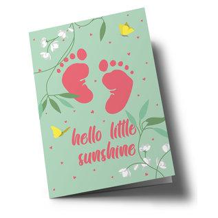 ha343   happiness   Baby Fußabdrücke - Klappkarte