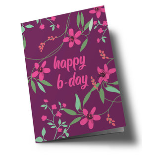 ha348 | happiness | Happy b-day flowers pink - double card