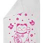 Tea Towel tt002   tea towel   Waving Cat, neon
