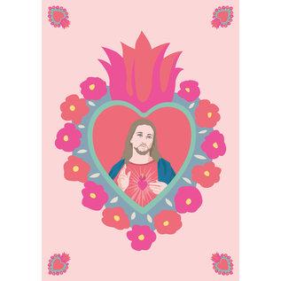ha036 | happiness | Flaming Heart Jesus - Postkarte A6
