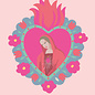 ha037 | happiness | Flaming Heart Madonna - postcard A6