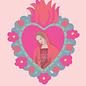 ha037   happiness   Flaming Heart Madonna - Postkarte A6