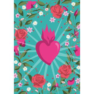 ha039 | happiness | Flower Frame Heart - Postkarte A6