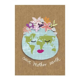 Care About fzca003   Care About   Save mother earth - Holzschliffpappe A6