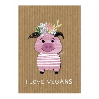 Care About fzca004 | Care About | I love vegans - Holzschliffpappe A6