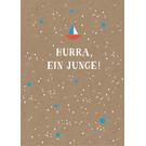 df016 | Designfräulein | Hurra, ein Junge - Postkarte A6