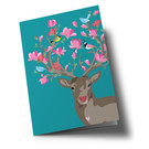 ha353 | happiness | Deer with Flowers - Klappkarte