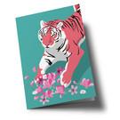 ha354 | happiness | Tiger with Flowers - Klappkarte