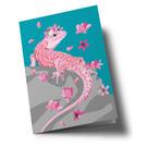 ha356 | happiness | Salamander with Flowers - Klappkarte