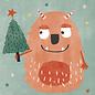 dfx310   Designfräulein   Monster Christmas - Postkarte  A6