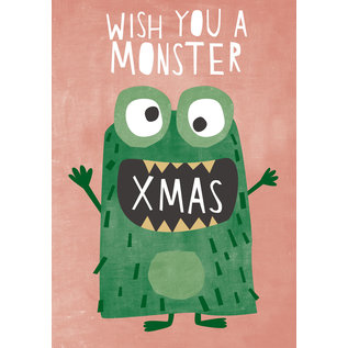 dfx315   Designfräulein   Monster Xmas grün - Postkarte  A6