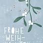dfx319   Designfräulein   Frohe Weihnachten Mistelzweig - Postkarte  A6