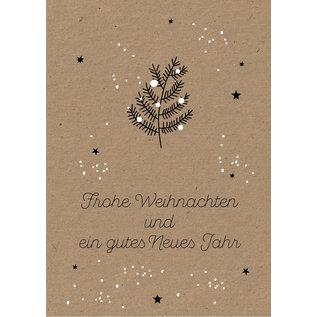 dfx057   Designfräulein   Tannenzweig Frohe Weihnachten - Postkarte A6