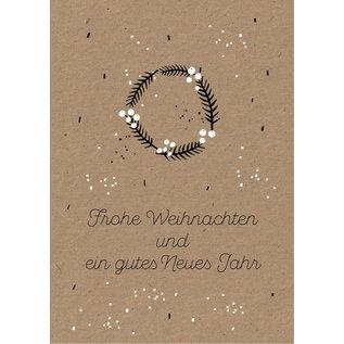 dfx059   Designfräulein   Kleiner Kranz Frohe Weihnachten - Postkarte A6