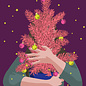 lux047   luminous   Woman with tree - postcard A6