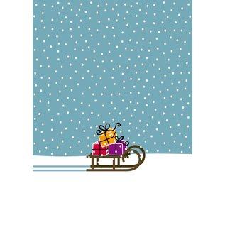 GS86 | Glückssachen | Weihnachten - Schlitten - Postkarte A6