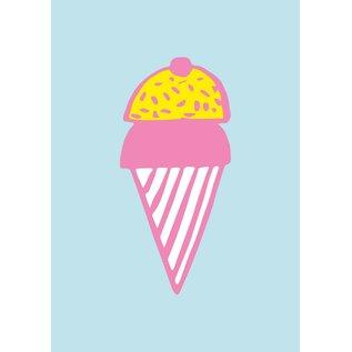 cc007 | crissXcross | Ice Cream Cone - postcard A6