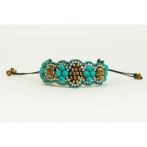 Pink Pewter Bracelet Heather - Gold/ Turquoise