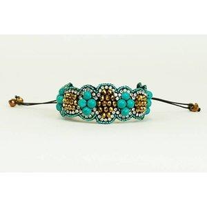 Pink Pewter Bracelet Heather - Gold/ Turquoise