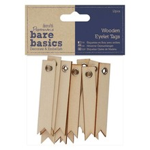 Papermania Bare Basics Wooden Eyelet Tags (12pcs) (PMA 174644)
