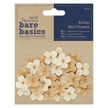 Papermania Bare Basics Burlap Mini Flowers (32pcs) (PMA 174867)