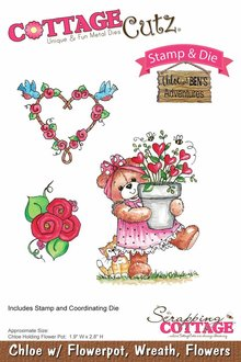 Scrapping Cottage CottageCutz Chloe with Flowerpot, Wreath & FLowers (CCS-027)