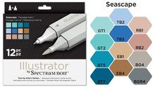 Spectrum Noir Illustrator Blendable Alcohol Markers 12 Pen Boxset - Seascape (SPECN-IL12-SEA)