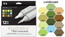 Spectrum Noir Illustrator Blendable Alcohol Markers 12 Pen Boxset - Landscape (SPECN-IL12-LAN)