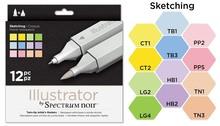 Spectrum Noir Illustrator Blendable Alcohol Markers 12 Pen Boxset - Sketching (SPECN-IL12-SKE)
