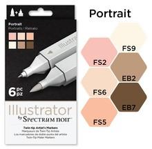 Spectrum Noir Illustrator Blendable Alcohol Markers 6 Pen Boxset - Portrait (SPECN-IL6-POR)