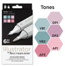 Spectrum Noir Illustrator Blendable Alcohol Markers 6 Pen Boxset - Tones (SPECN-IL6-TON)