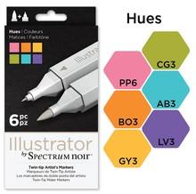 Spectrum Noir Illustrator Blendable Alcohol Markers 6 Pen Boxset - Hues (SPECN-IL6-HUE)