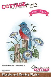 Scrapping Cottage CottageCutz Stamp & Die Bluebird And Morning Glories (CCS-030)
