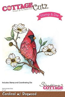 Scrapping Cottage CottageCutz Stamp & Die Cardinal With Dogwood (CCS-032)
