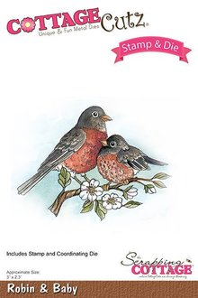 Scrapping Cottage CottageCutz Stamp & Die Robin & Baby (CCS-036)