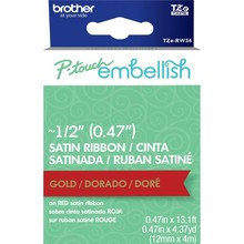 Brother P-Touch Embellish Satin Ribbon Gold On Red (RW34)