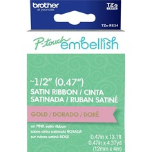 Brother P-Touch Embellish Satin Ribbon Gold On Pink (RE34)