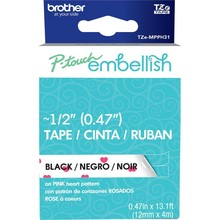 Brother P-Touch Embellish Black Print Pattern Tape Pink Heart (MPPH31)