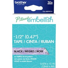 Brother P-Touch Embellish Black Print Pattern Tape Purple Floral (MPPF31)