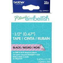 Brother P-Touch Embellish Black Print Pattern Tape Pink & Blue Diagonal (MPPD31)