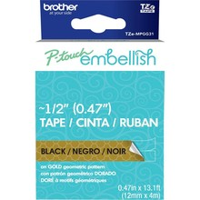 Brother P-Touch Embellish Black Print Pattern Tape Gold Geometric (MPGG31)