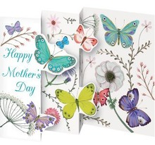 Roger La Borde Trifold Triptych Card Happy Mother's Day Butterflies (GCN 241M)